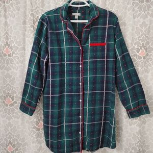 Lord & Taylor plaid polka dot nightshirt size XL